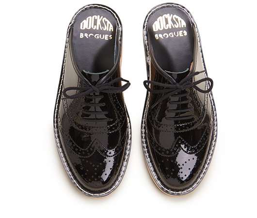 Slippers - Brogues Mats Theselius Black High Gloss | Docksta Sko